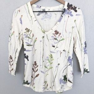 Anthro t.la Cream Floral V-Neck 2/4 Sleeve Top